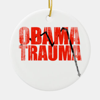 Obama Trauma Faded.png Double-Sided Ceramic Round Christmas Ornament