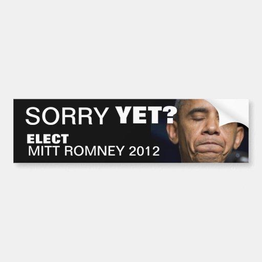 ¿Obama - triste todavía? Elija a Mitt Romney 2012 Pegatina Para Auto