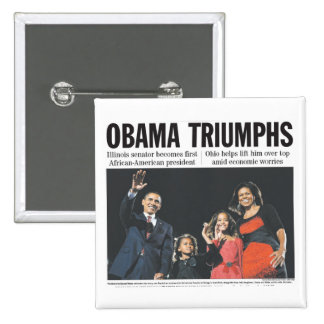 Obama Triumphs Button