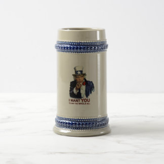 Obama Uncle Sam Wants You 18 Oz Beer Stein