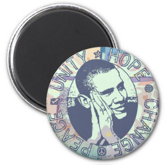 Obama Unity, Hope, Change and Peace 2012 2 Inch Round Magnet