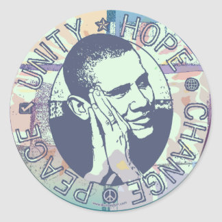 Obama Unity, Hope, Change and Peace 2012 Classic Round Sticker