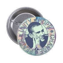 Obama Unity, Hope, Change and Peace 2012 Pinback Button