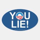 Obama usted miente -- Antiobama Pegatina Ovalada