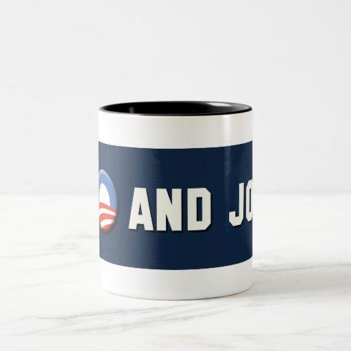 """¡Obama - van """"O"""" y Joe! Taza De Café De Dos Colores"""