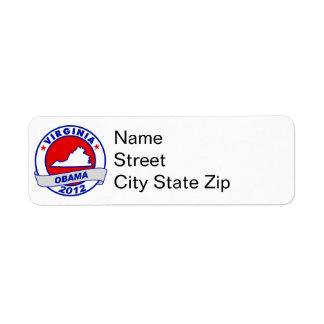 Obama - virginia custom return address label