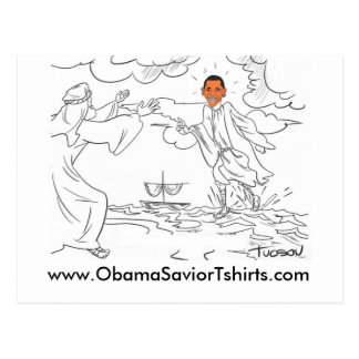 Obama walks on water post card