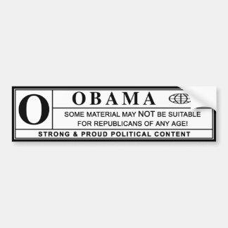 obama : warning label : bumper sticker