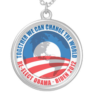 Obama: We Can Change The World Round Pendant Necklace