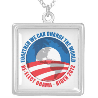 Obama: We Can Change The World Square Pendant Necklace