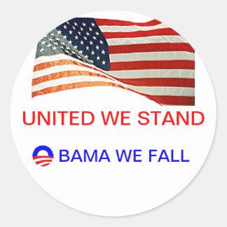 obama we fall classic round sticker