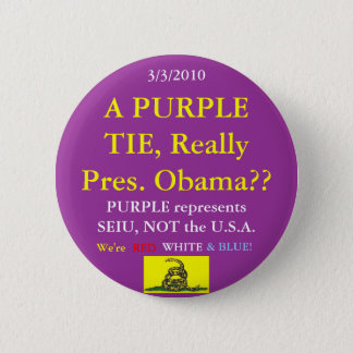 Obama Wears SEIU Purple Pinback Button