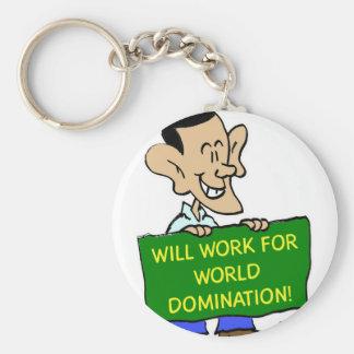 obama will work for world domination basic round button keychain