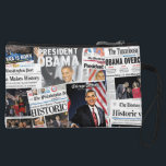 "Obama Wins 2008/2012 Newspaper Clutch Bag<br><div class=""desc"">Celebrate President Barack Obama&#39;s historic election victories in 2008 and 2012. The front side has front pages from November 5,  2008 and the back side has front pages from November 7,  2012 announcing President Obama&#39;s re-election as the 44th president of the United States.</div>"