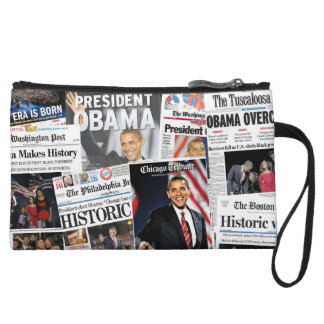 Obama Wins 2008/2012 Newspaper Clutch Bag Wristlet Purse