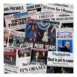 Obama Wins 2012 Front Page Newspaper Collage Posters