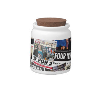 Obama Wins 2012 Newspaper Collage Candy Jar