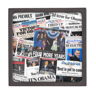 Obama Wins 2012 Newspaper Collage Gift Box