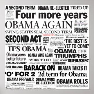 Obama Wins 2012 Newspaper Headline Collage Poster