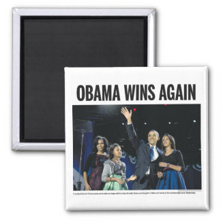 Obama Wins Again 2 Inch Square Magnet