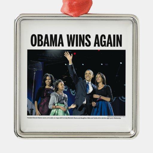 Obama Wins Again Christmas Tree Ornament