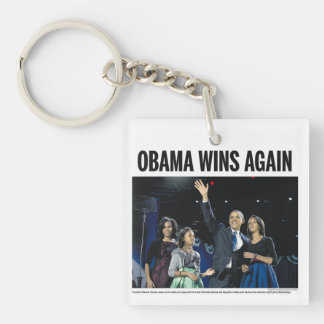 Obama Wins Again: Obama 2012 Newspaper Keychain