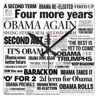 Obama Wins Re-Election 2012 Headlines Clock