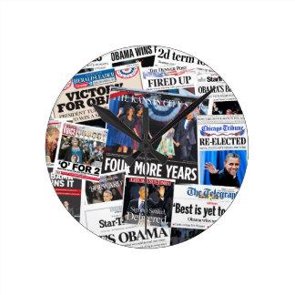 Obama Wins Re-Election 2012 Newspaper Clock
