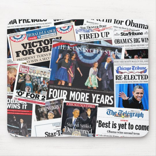 Obama Wins Re-Election Front Page Collage Mouse Pad