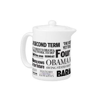Obama Wins Re-Election Newspaper Headline Teapot
