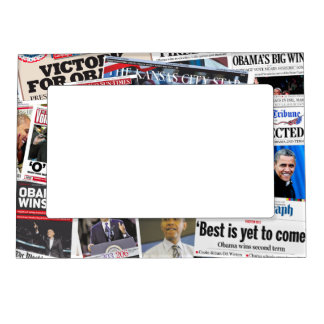 Obama Wins Re-Election Newspaper Magnet Frame