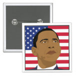 Obama with American Flag Buttons