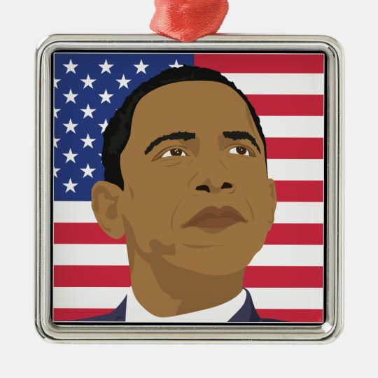Obama with American Flag Metal Ornament
