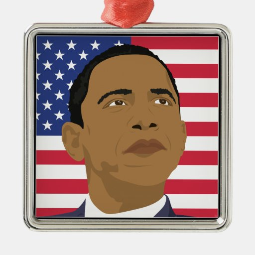 Obama with American Flag Ornament