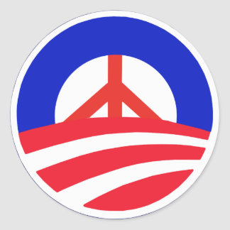 Obama with Red Peace Sign Classic Round Sticker