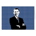 Obama with U.S. Flag Tie and Stars Background Greeting Cards