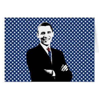 Obama with U.S. Flag Tie and Stars Background Greeting Card