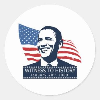 Obama Witness To History Classic Round Sticker