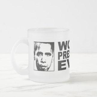 Obama Worst President Ever 10 Oz Frosted Glass Coffee Mug