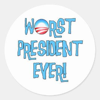 Obama Worst President Ever Classic Round Sticker