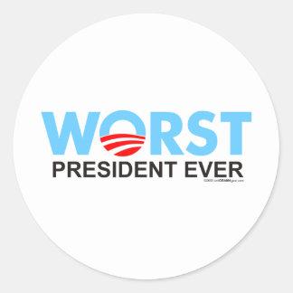 Obama WorstEver Pegatina Redonda