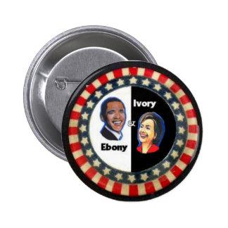 Obama y Clinton, estrellas y rayas Pin Redondo De 2 Pulgadas