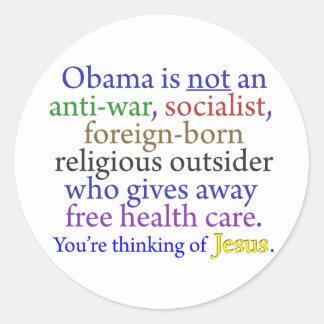 Obama y Jesús Etiqueta Redonda