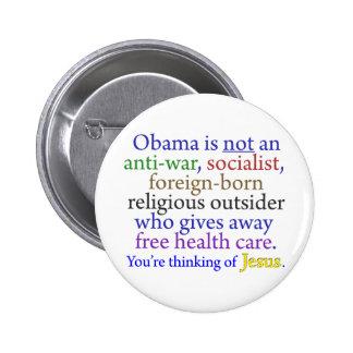 Obama y Jesús Pin Redondo De 2 Pulgadas
