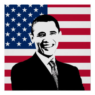 Obama y la bandera americana poster