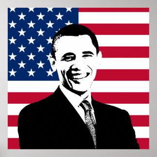 Obama y la bandera americana póster