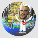 Obama y libertad pegatinas redondas