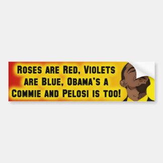 Obama y Pelose son Commies Etiqueta De Parachoque