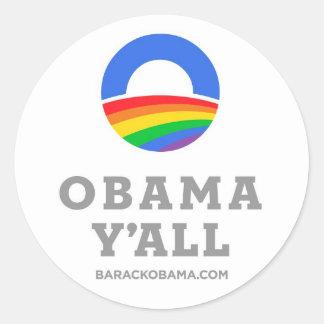 Obama Y'all LGBT Classic Round Sticker