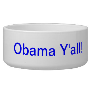 Obama Y'all porcelain dog bowl with patriotic blue